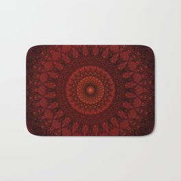 Dark and light red mandala Bath Mat