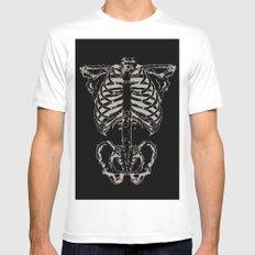 Skeleton #1 White Mens Fitted Tee MEDIUM