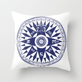 Nautical Compass | Vintage Compass | Navy Blue and White | Throw Pillow