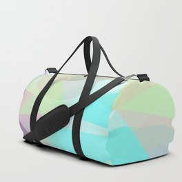 geometric triangle and circle pattern abstract in blue green pink Duffle Bag