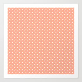 Mini Peach with White Polka Dots Art Print