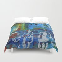 couple Duvet Covers featuring Couple by Nathalie Gribinski