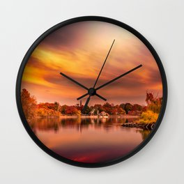Sunset over Jamaica Pond Wall Clock