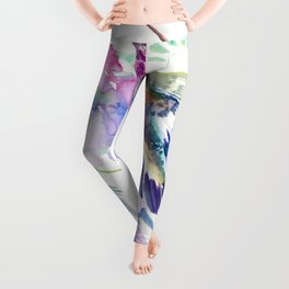 Hummingbird and Soft Purple Flowers Leggings