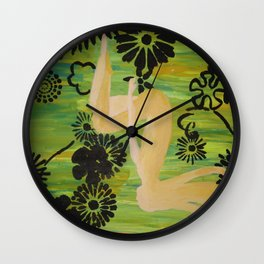 One with the Flowers Wall Clock