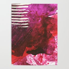 You set me on fire: a vibrant, colorful mixed media piece in red, purple, black and white Poster