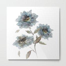watercolor Dahlia blue Metal Print