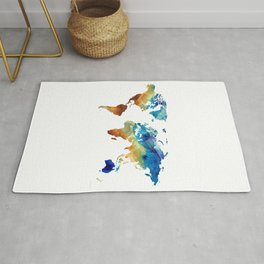 Blue And Colorful World Map 27 - Sharon Cummings Rug