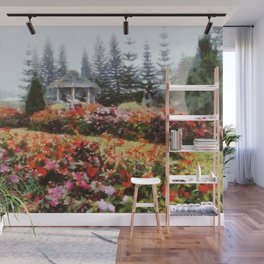 Beautiful garden in a misty day Wall Mural