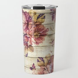 Rustic Vintage Country Floral Wood Romantic Travel Mug