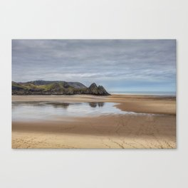 Reflections of Three Cliffs Bay Canvas Print