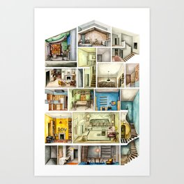 Architectural Section of a House Art Print