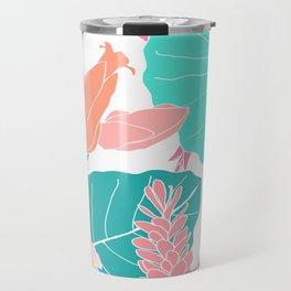 Coral Ginger Flowers + Elephant Ears in White Travel Mug