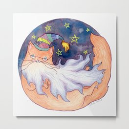 Wizard Cat with Beard Metal Print