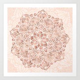 Mandala Seashell Rose Gold Coral Pink Art Print