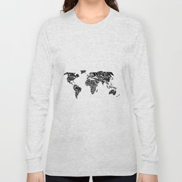 World Word Map - Black and White Long Sleeve T-shirt