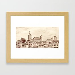 Rapperswil Castle Sepia Framed Art Print
