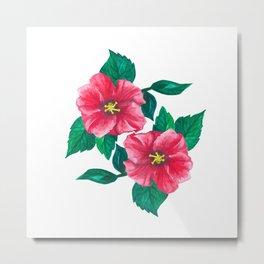 Two Pink Hibiscus Metal Print