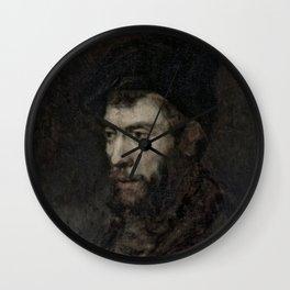 Rembrandt - Man in a Beret looking Left Wall Clock