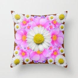 Chocolate Brown Color Shasta Daisies & Rose Pattern Garden Art Throw Pillow