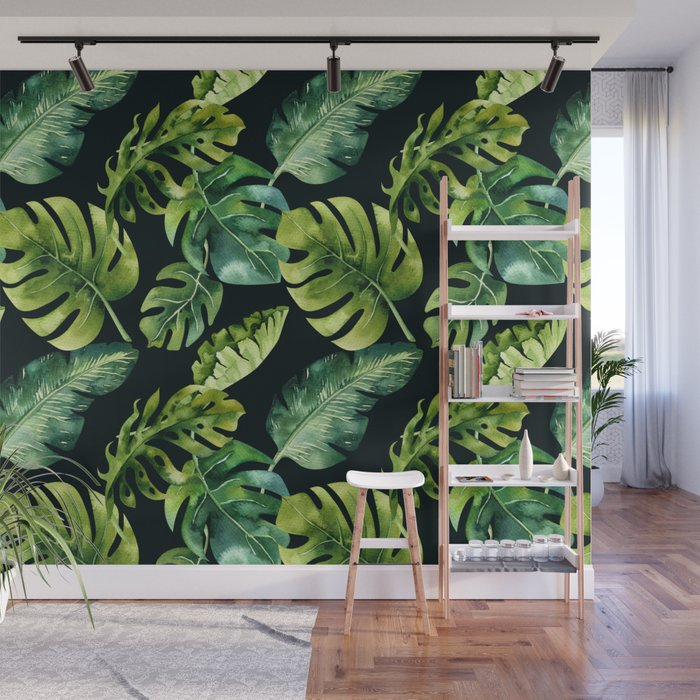 Watercolor Botanical Tropical Palm Leaves on Solid Black Background Wall Mural