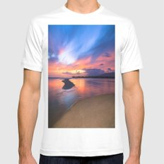 Paradise Sunset 8 White Mens Fitted Tee MEDIUM