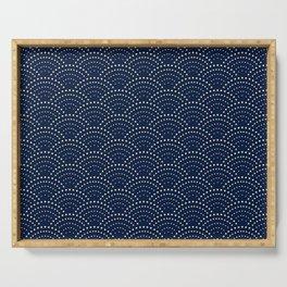 Japanese Blue Wave Seigaiha Indigo Super Moon Pattern Serving Tray