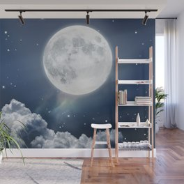 Full Moon Night in Blue Wall Mural