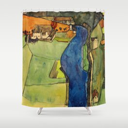 "Egon Schiele ""Stadt am blauen Fluss (Town on the blue river)"" Shower Curtain"