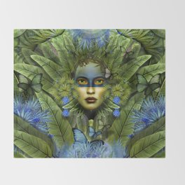 """Tropical green and indigo jungle Woman"" Throw Blanket"