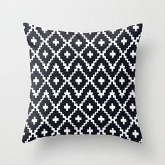 southwest diamonds _ black on white Throw Pillow