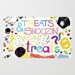 Treats and snoozin'. Snoozin' and treats. Rug