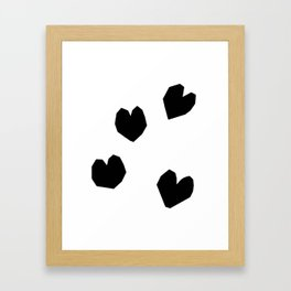 Love Yourself no.2 - black heart pattern love art black and white illustration Framed Art Print