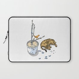 Sleeping cat and singing bird - Animal Lover - Nature -  Tranquility Laptop Sleeve