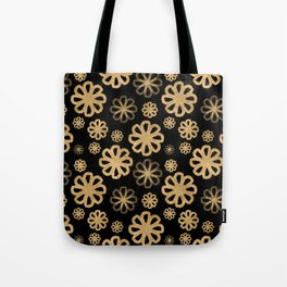 Glitter Sand Flower Pattern-Gold&Black Tote Bag