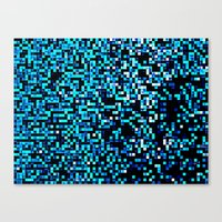 pixel Canvas Prints featuring Turquoise Blue Aqua Black Pixels by 2sweet4words Designs