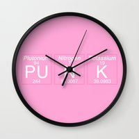periodic table Wall Clocks featuring Periodic Punk by aesthetically