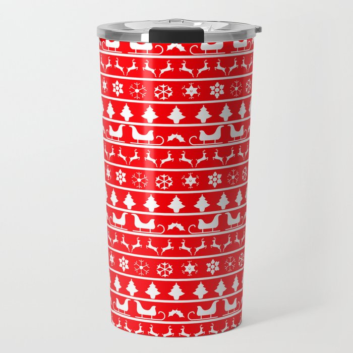 Red & White Ugly Sweater Nordic Christmas Knit Pattern Travel Mug