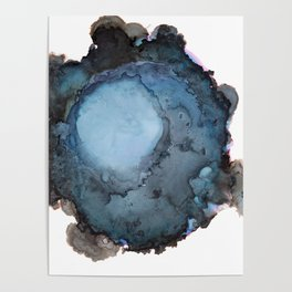 Black and Blue Vortex Ink Painting Poster