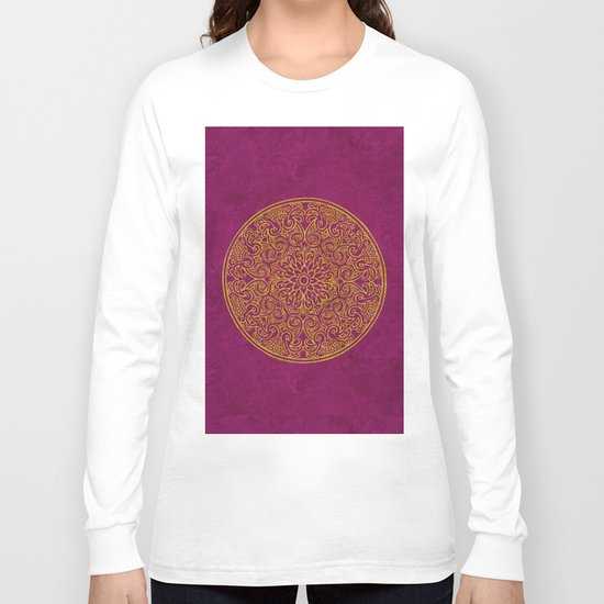Red gold Luxury round Ornament Long Sleeve T-shirt