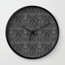 Abstract and faux crocodile skin .Texture Dark gray . Wall Clock