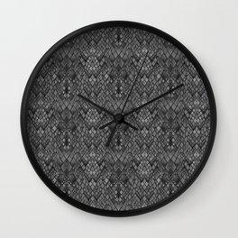 Abstract and faux crocodile skin .Texture Dark gray . Wall Clock