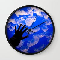 the life aquatic Wall Clocks featuring Life Aquatic by Michelle Fay