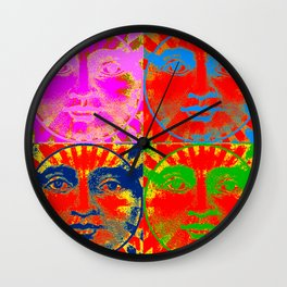 Four Faces of the sun ( psychedelic ) Wall Clock