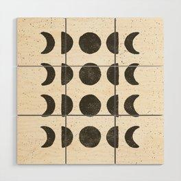Moon Phases - Black on Cream Wood Wall Art