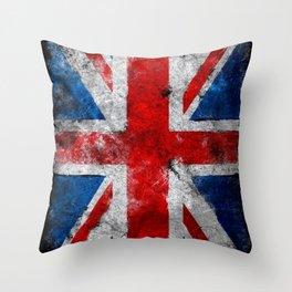 Great Britain grunge flag Throw Pillow