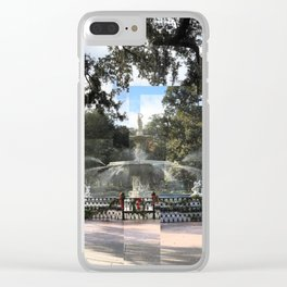 Crisp morning in Forsyth Park, cropped Clear iPhone Case