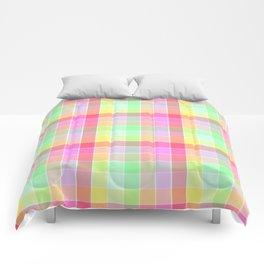 Pastel Rainbow Sorbet Ice Cream Check Plaid Comforters