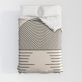Geometric Lines in Black and Beige 20 (Sunrise and Sunset Abstraction) Comforters
