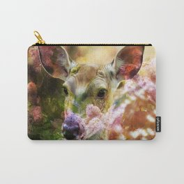 Fawn Peeking Through The Lilac Bushes By Annie Zeno Carry-All Pouch